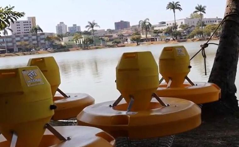Aeradores são instalados na Lagoa Paulino para aumentar teor de oxigênio da água