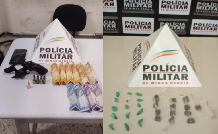 PM apreende drogas em Paraopeba e prende homem por porte ilegal de arma de fogo em Pedro Leopoldo