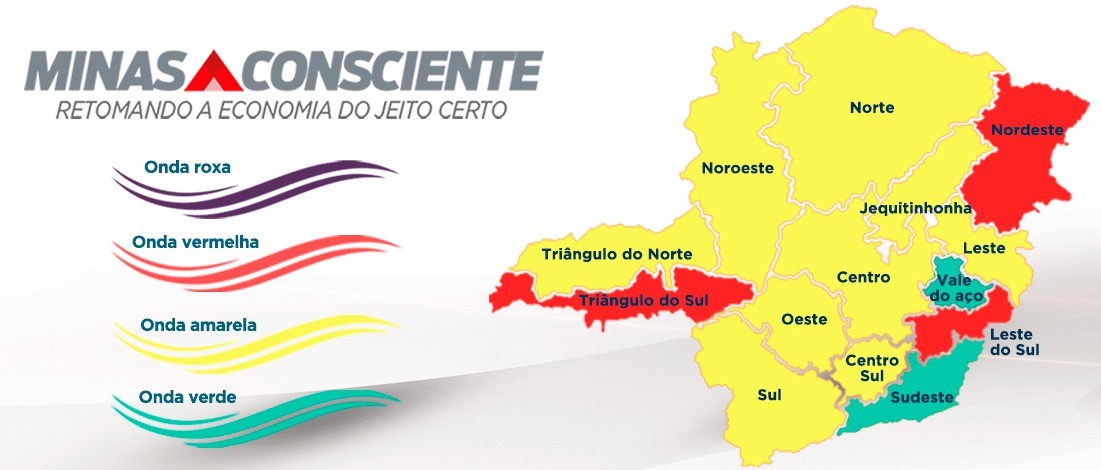Incidência da Covid-19 cai em Minas e 12 das 15 macrorregiões de saúde estão fora da Onda Vermelha