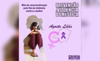 PM realiza ações em Sete Lagoas na 'Campanha Agosto Lilás' para combater violência doméstica