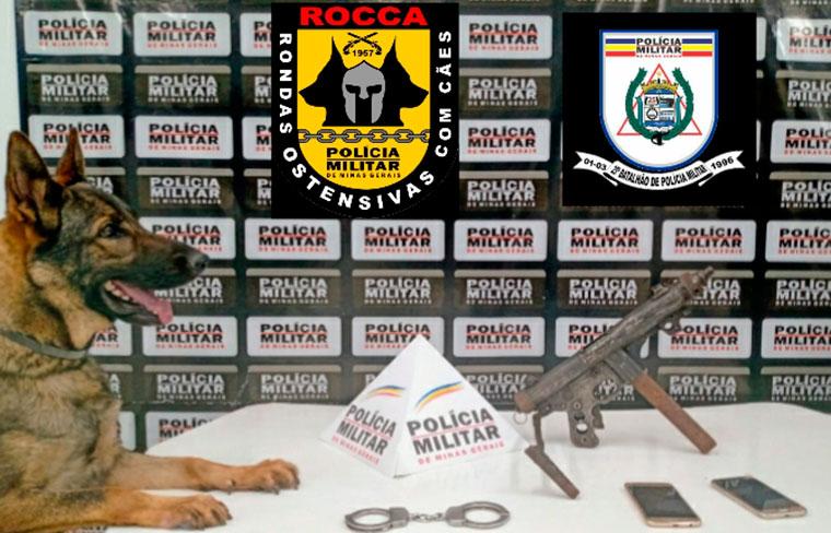 Polícia Militar apreende metralhadora em residência do bairro Canadá em Sete Lagoas