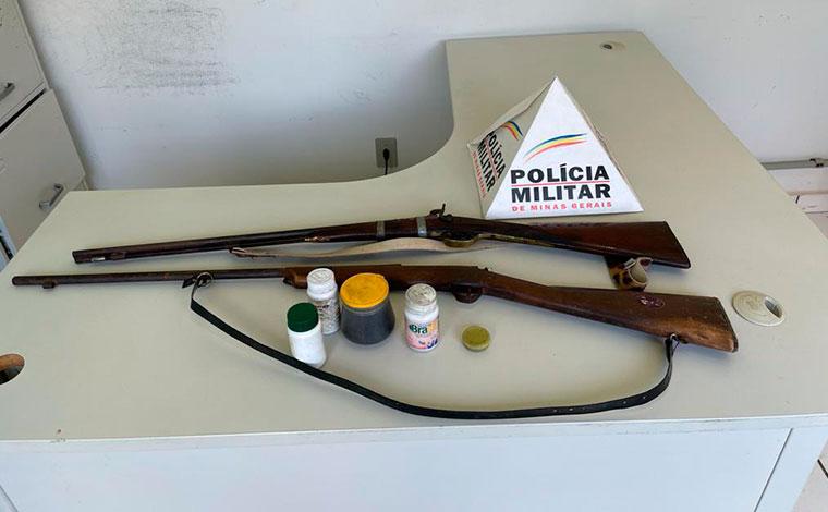 PM localiza armas de fogo durante ocorrência de violência doméstica em Baldim