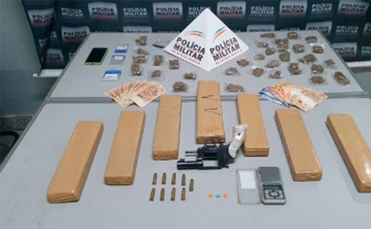Grupo é preso com notas falsas, arma de fogo e grande quantidade de drogas em Sete Lagoas