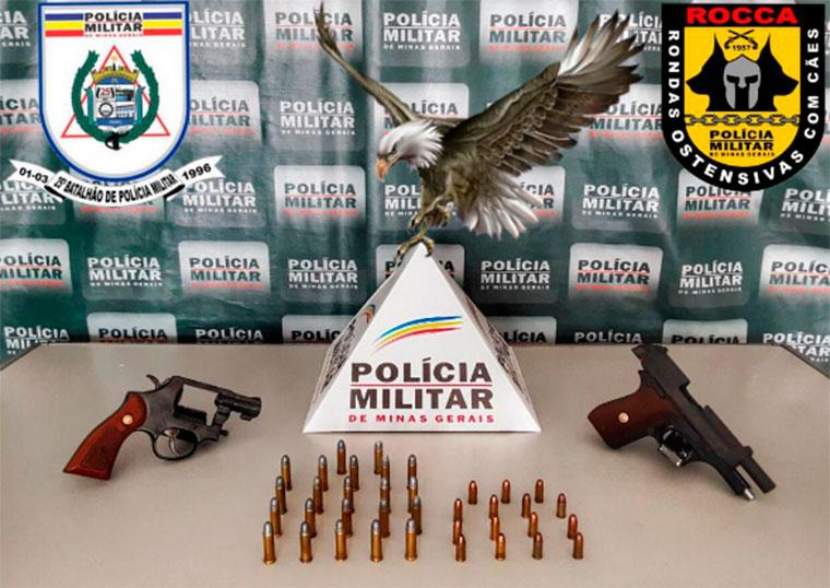 Polícia Militar apreende duas armas de fogo durante ocorrência de crime de ameaça em Sete Lagoas