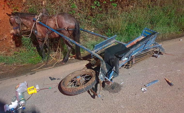 Criança morre e quatro pessoas ficam feridas em acidente entre moto e charrete no interior de Minas