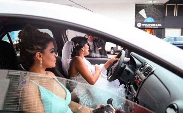 Após ter 20 corridas canceladas, noiva dirige até o próprio casamento no Distrito Federal