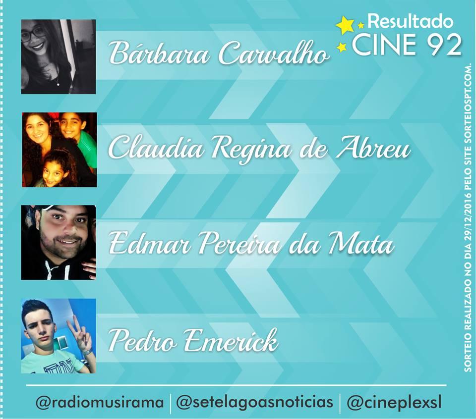 Veja quem foram os últimos sorteados de 2016 na Promoção Cine 92