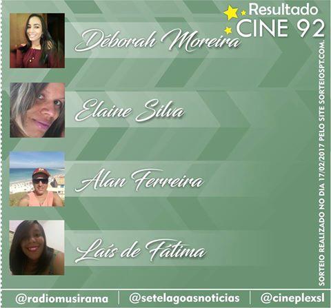 Conheça os ganhadores da semana na Promoção Cine 92