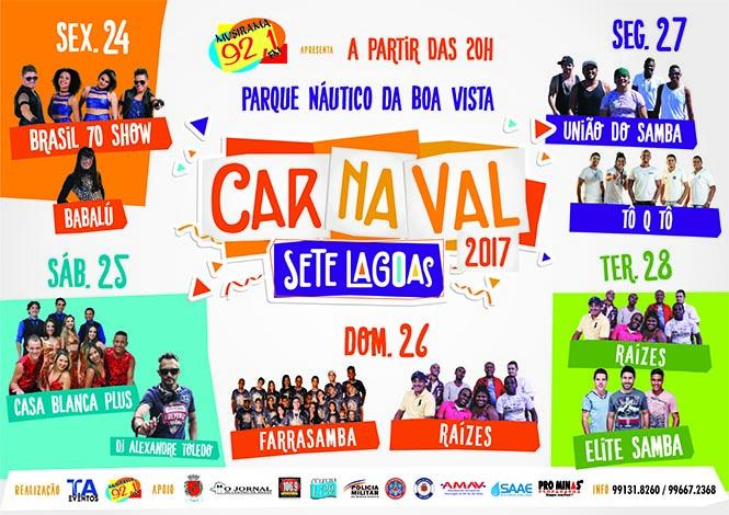 Veja a programação do Carnaval em Sete Lagoas e cidades da região