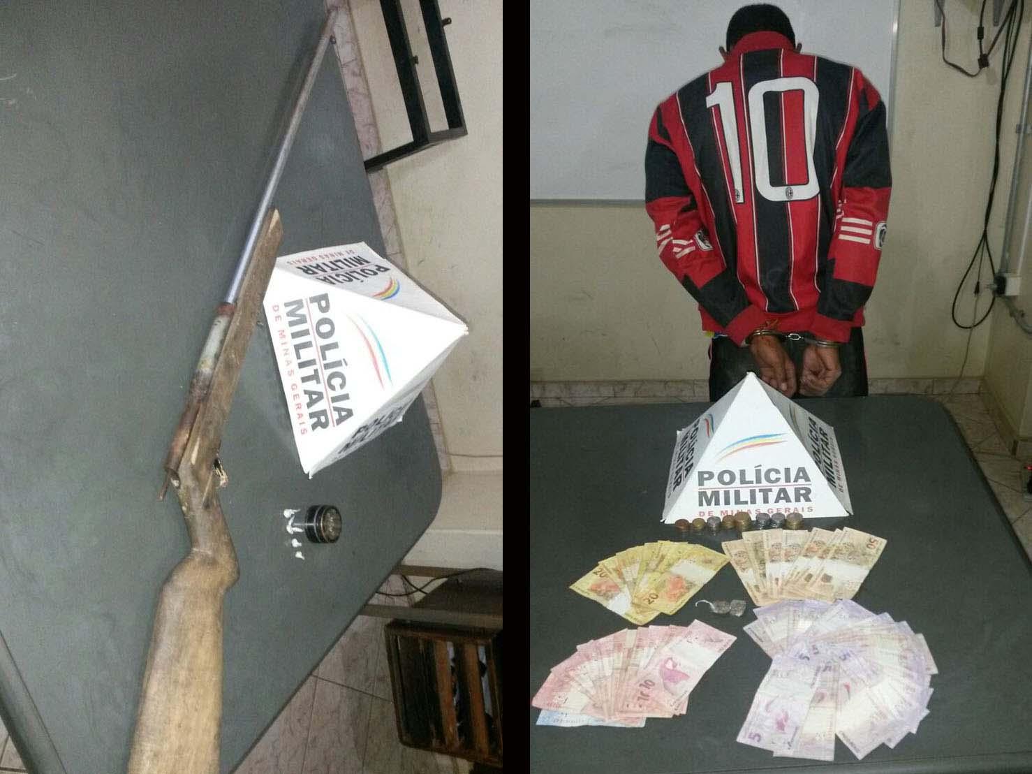 Polícia prende traficante e apreende arma em Paraopeba