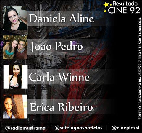 Confira os ganhadores da semana na promoção Cine 92