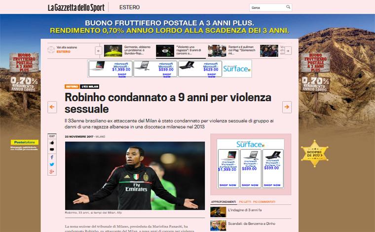 Condenação de Robinho à prisão pela justiça italiana repercute na imprensa mundial