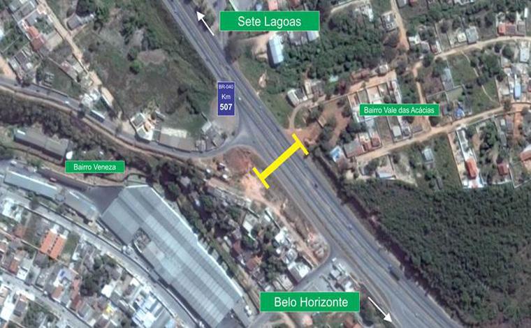BR 040 terá bloqueio de faixa em Ribeirão das Neves para construção de passarela