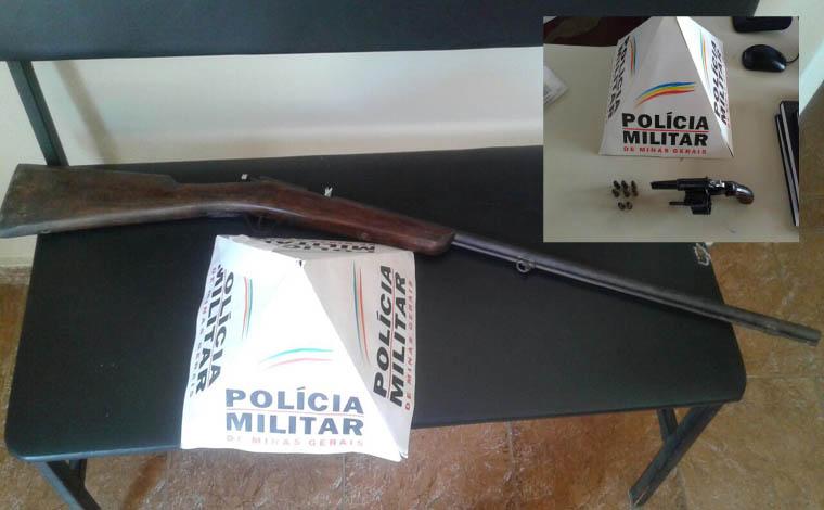 PM apreende armas de fogo em Santana de Pirapama e Caetanópolis