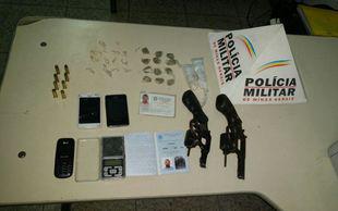Três presos, armas e drogas apreendidas em Ribeirão das Neves