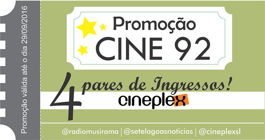 Confira os ganhadores da Promoção Cine 92 desta semana