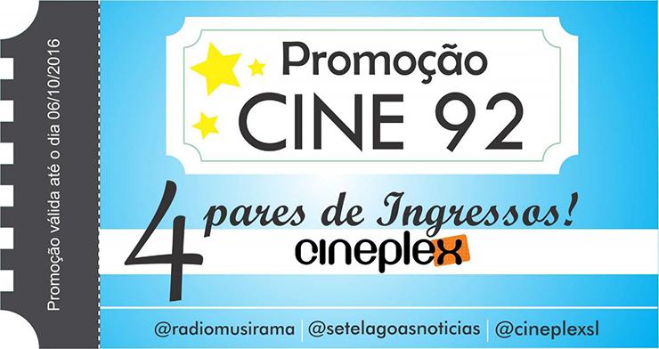 Veja os ganhadores da semana na Promoção Cine 92