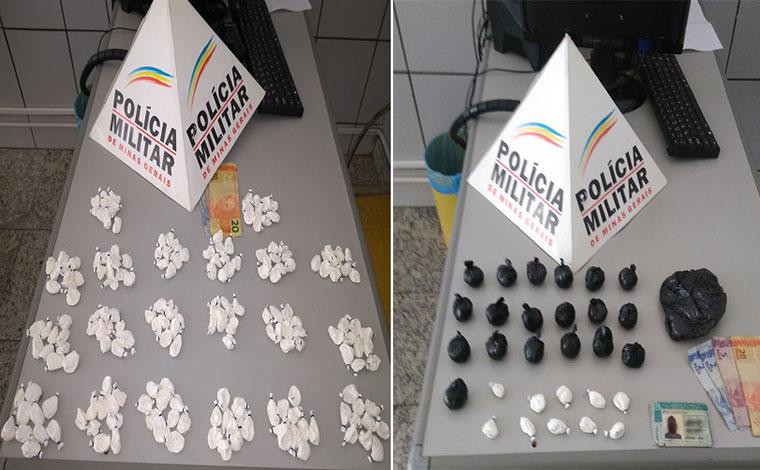 Traficante é preso com 200 porções de cocaína prontas para a venda