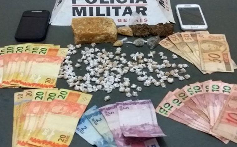 Polícia captura trio envolvido com o tráfico de drogas em Caetanópolis