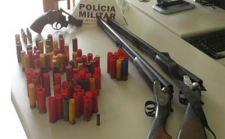 PM apreende armas e munições de grosso calibre em sítio de Jequtibá