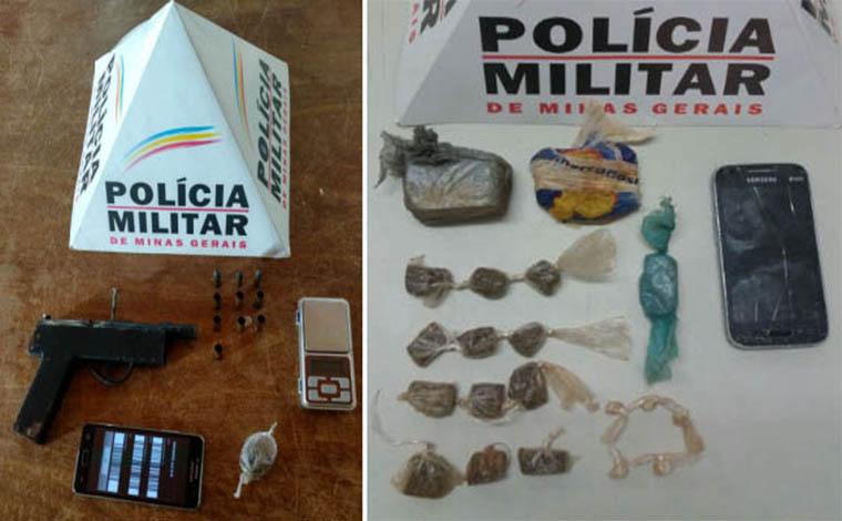 Fotos: PMMG - Policiais apreenderam armas e outros materiais usados na venda dos entorpecentes; Dois menores foram apreendidos e um jovem de 23 anos detido