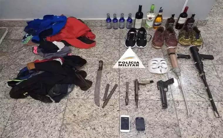 PM captura bandidos mascarados de assalto a supermercado em Sete Lagoas