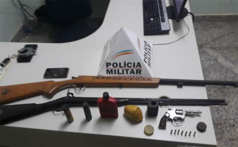 Trio é detido pela PM com armas e munições na zona rural de Jequitibá