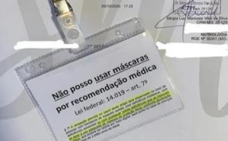 Médico faz publicações em redes sociais fornecendo atestados para evitar o uso de máscaras