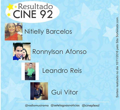 Veja os ganhadores da Promoção Cine 92