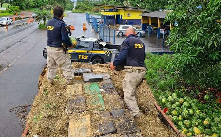 Cerca de 4 toneladas de maconha são encontrados em meio a carga de melancias na BR-365
