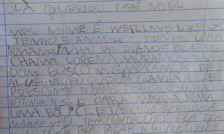 Criança de 5 anos escreve carta para Papai Noel e causa comoção; ajuda vem até do exterior