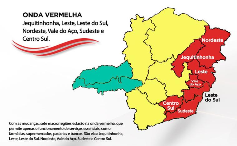 Minas Consciente: macrorregião de saúde Centro-Sul regride para onda vermelha do programa