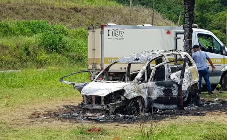 Polícia encontra corpo carbonizado dentro de veículo incendiado na BR-040, em Contagem
