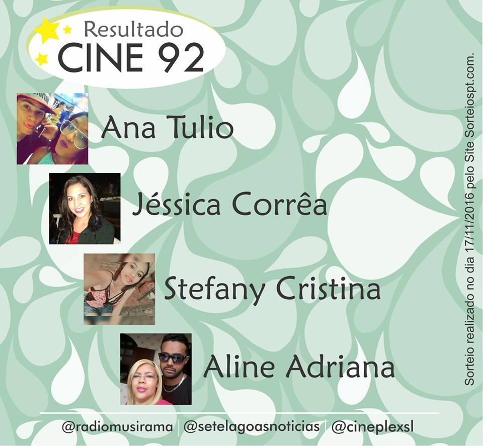 Confira os vencedores da semana na Promoção Cine 92