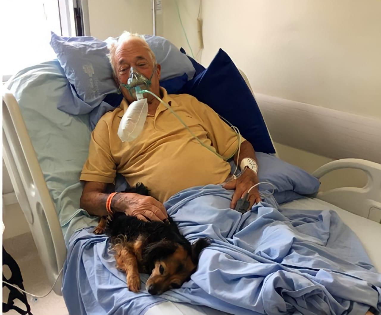 Idoso de 92 anos com Covid-19 recebe visita de cachorrinha no hospital antes de morrer