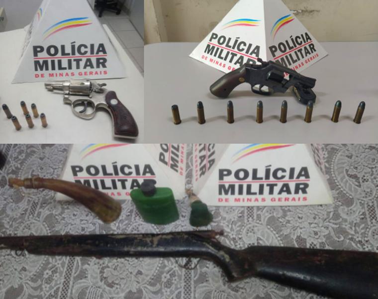 PM apreende 3 armas de fogo neste final de semana em Prudente de Morais e Pedro Leopoldo
