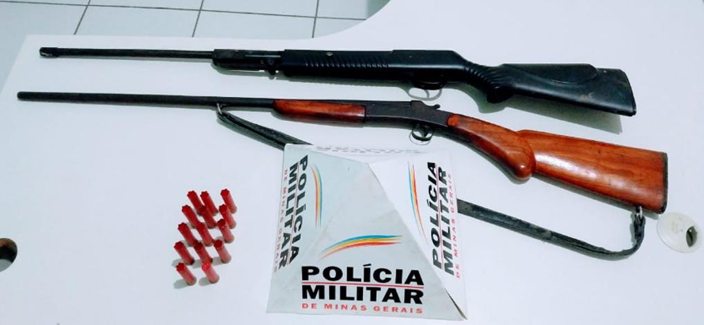PM apreende duas armas de fogo na cidade de Baldim; proprietário não foi localizado