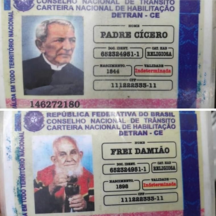Homem é parado em blitz e apresenta 'carteira de habilitação' de Padre Cícero e Frei Damião