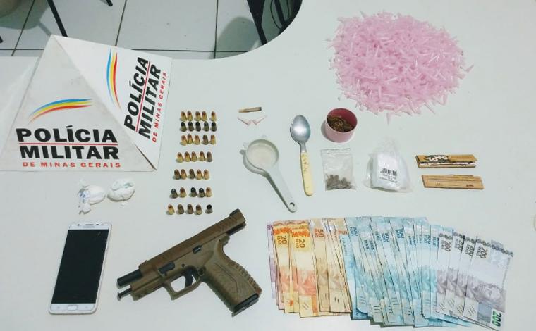 Homem é preso com drogas e pistola de fabricação croata em zona rural de Baldim
