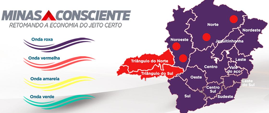 Minas Consciente: onze macrorregiões do estado continuam na 'onda roxa' do programa