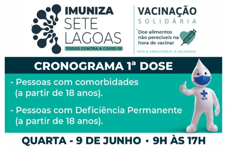 Sete Lagoas vacina pessoas com comorbidades e deficiência permanente a partir de 18 anos