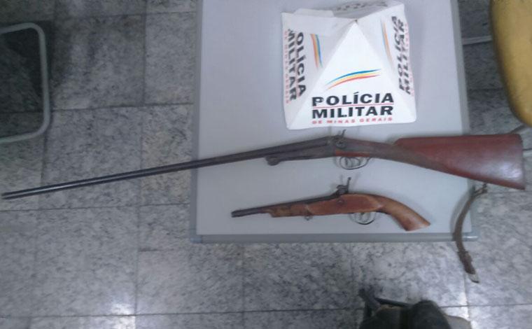 Policiais chegaram ao autor após denúncias de que alguém atirava com armas  de fogo em um sítio no Bairro Flórida d49ef6dfa75